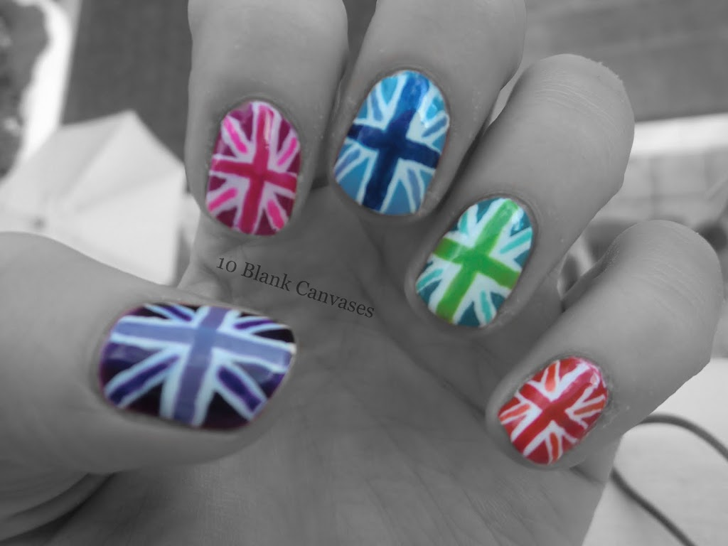 Union jack inspired nail art 10 blank canvases union jack inspired nail art prinsesfo Image collections