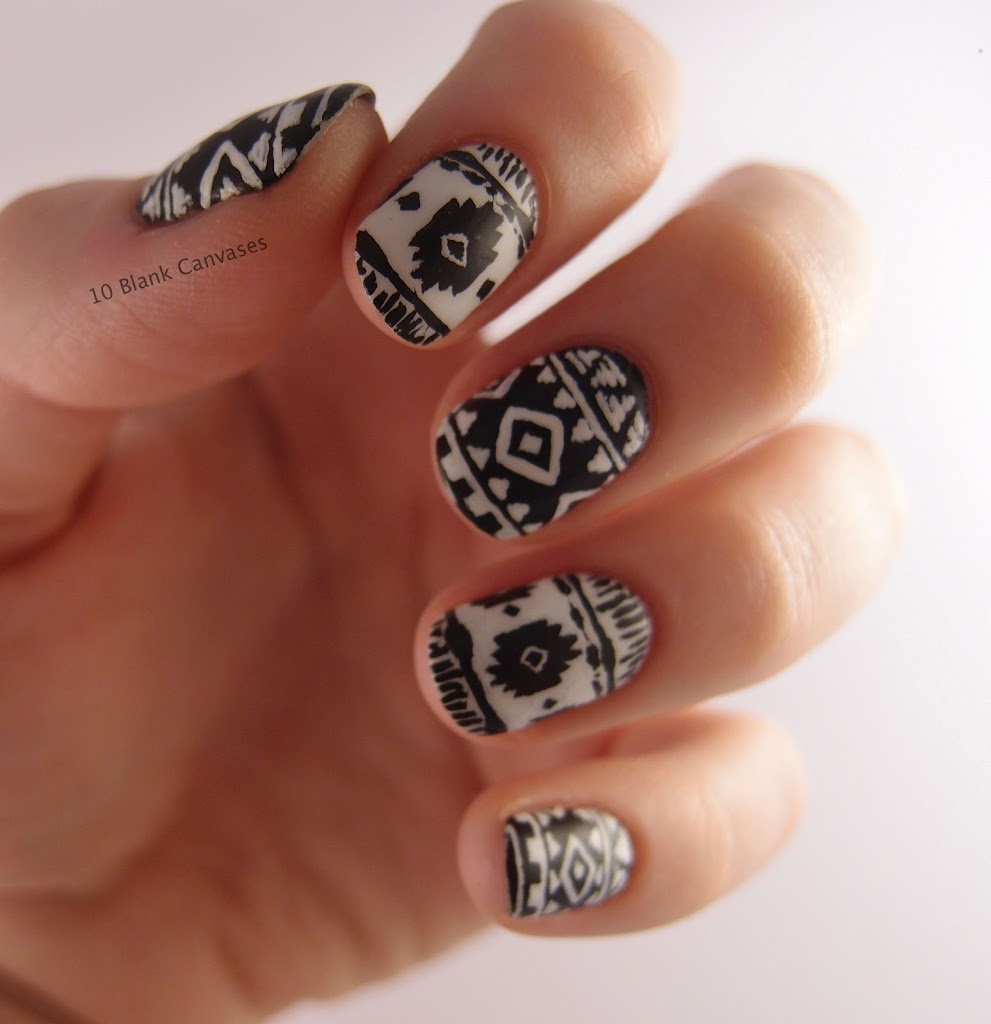 Aztec print nails | 10 Blank Canvases