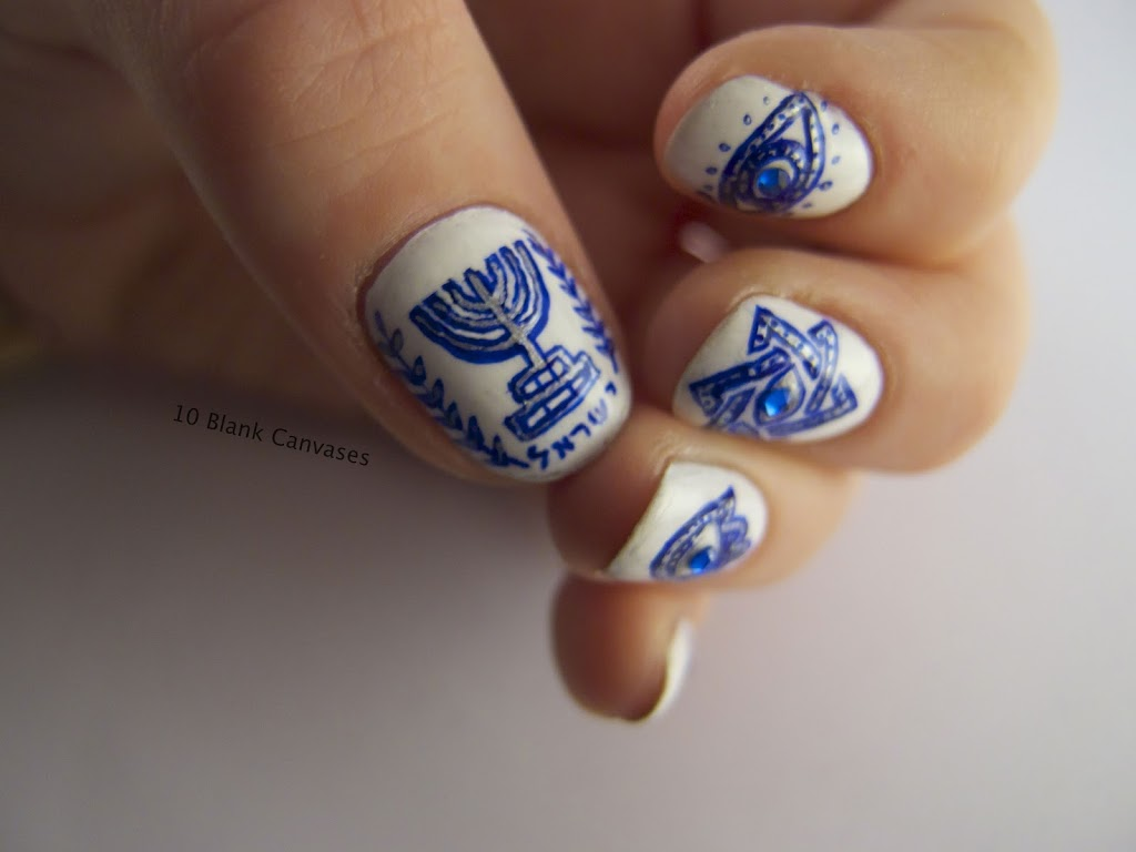 Israel evil eye nails | 10 Blank Canvases