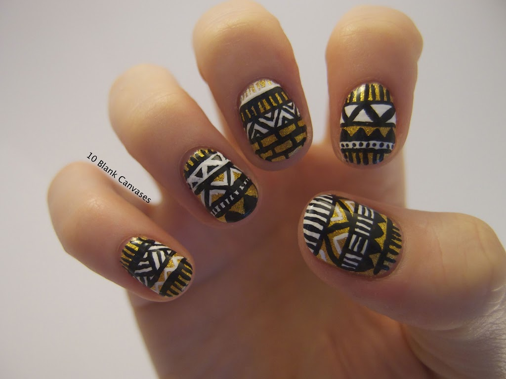 Black White And Gold Nails Tumblr Images Free Download 1000